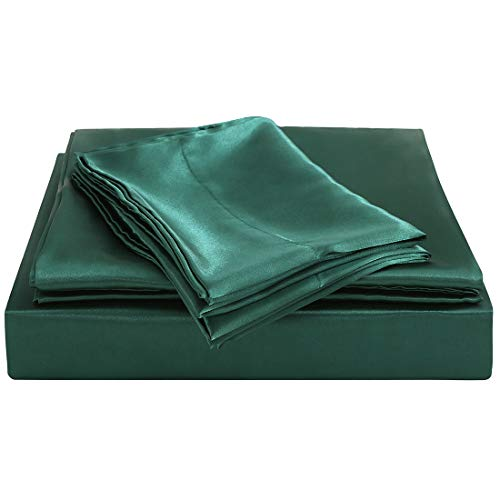 Homiest Queen Sheet Set Blackish Green Satin Bedding Sheets Set, 4pc Queen Bed Sheet Set with Deep Pockets Fitted Sheet