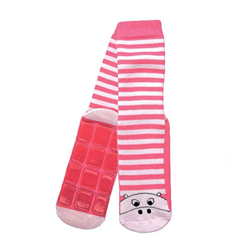 Country Kids Little Girls' Non Skid Anti Slip Striped Slipper Socks Cute Pig, Pack of 1, Fits 6-8 years, -