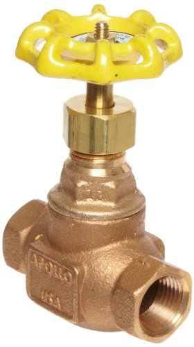 Apollo 121T-LF Series Bronze Globe Valve, Potable Water Service, Class 125, Inline, Threaded Bonnet, 2