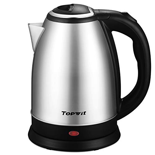 Topwit Electric Kettle Water Heater Boiler, 2 Liter Stainless Steel Coffee Kettle & Tea Pot, Water Warmer Cordless with Fast Boil, Auto Shut-Off & Boil Dry Protection, Upgraded