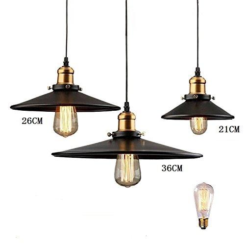 Vintage Pendant Light Loft Pendant Lamp Retro E27 Hanging Lamp Lampshade For Restaurant Bar Coffee Shop Home Lighting Luminarias,21CM Dia,No - No 21 Shop