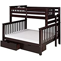 Camaflexi Santa Fe Mission Tall Bunk Bed End Ladder with Under Bed Drawers, Twin over Full, Cappuccino