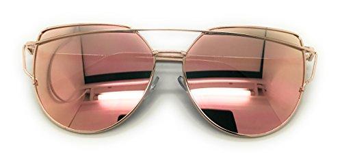 MyUV Oversized Cat Eye Mirrored Flat Lenses Street Fashion Metal Frame Sunglasses (Gold/Pink, - Sunglasses Aviator Cat