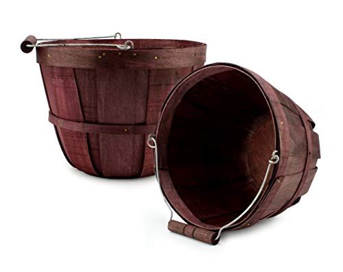 Halloween Fruit Baskets (Cornucopia Brands Round Wooden Baskets (2-Pack, Dark Brown); Wood Fruit Buckets with Handle, Gallon)