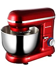 Tilt-Head Stand Mixer, 5.9 Quart Stainless Steel Mixing Bowl, Kitchen Electric Food Mixer with Dough Hooks, Whisk & Beater, 6 Speed 600W (Red)
