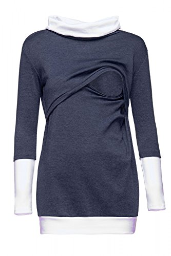 Happy Mama. Womens Nursing Sweatshirt Cowl Neck Contrast Detail Maternity. 348p (Dark Jeans & White, US 8/10, XL)