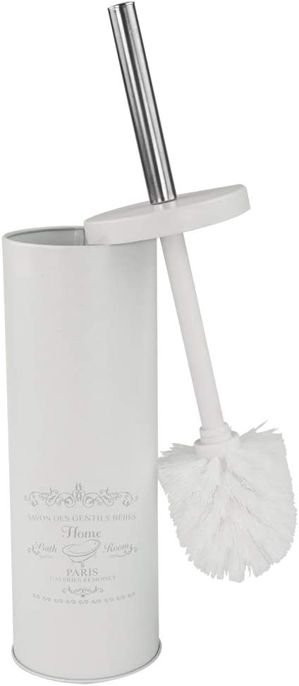Home Basics Paris Collection Savon Des Gentil Series Hide-Away and Splash Proof Toilet Brush with Hygienic Holder, White (1)
