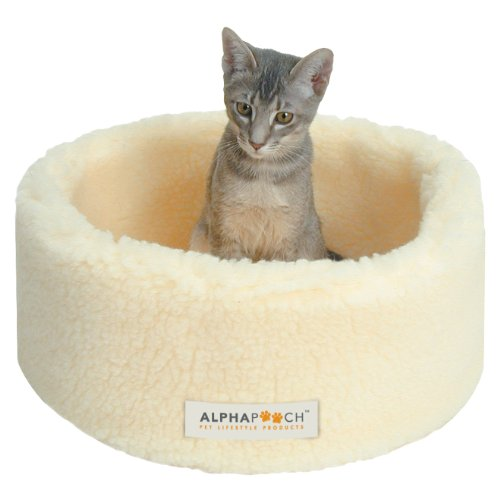 AlphaPooch Siesta Round Fleece Cat Bed, Natural, Small