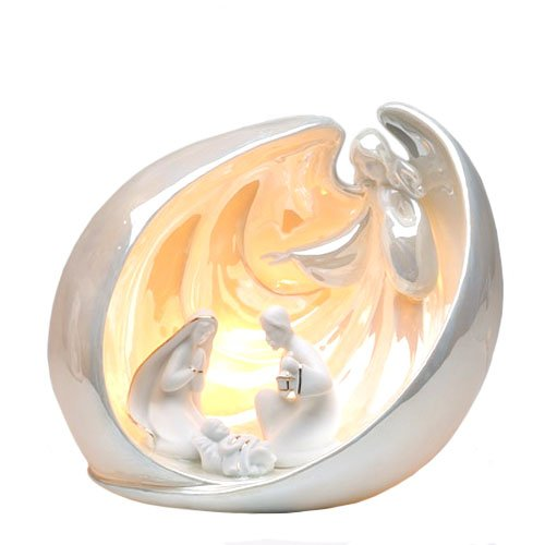 Appletree Design Nativity Scene with Overlooking Angel, Lighted, 9 by 7-Inch, Light Bulb and Cord Included by Appletree Design