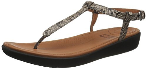 FitFlop Womens Tia Toe Thong Snake Effect Leather Sandals, Taupe Snake, US 6.5