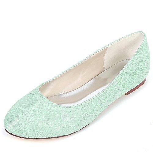 Chunky Green Zapatos L Kitten damas Platform Tacón Lace Honor yc Las Mujeres Media Satin Boda De Redonda Alto 0 6cm Vestido Cabeza 157H5q