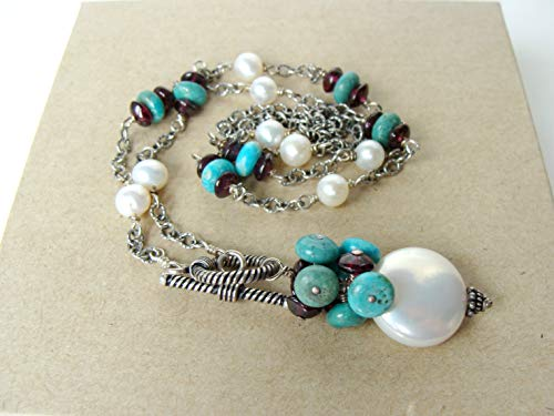 Pearl turquoise garnet necklace with front toggle clasp, coin pearl gemstone cluster pendant, 20.5 inches, handmade by Let Loose Jewelry, sterling silver ()