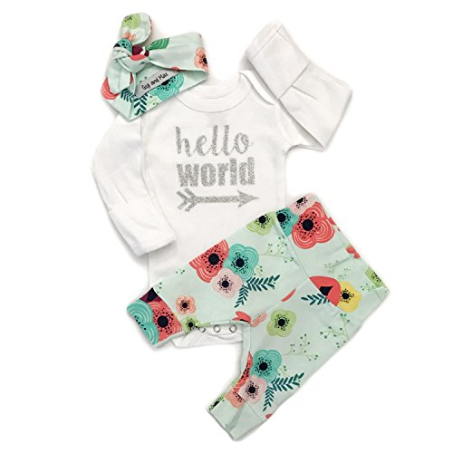 Gigi and Max Newborn Outfit 3 pc Floral on Light Blue Hello World Handmade Going Home Outfit Newborn ()