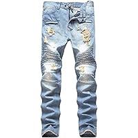 NITAGUT Men's Ripped Slim Straight Fit Biker Jeans With Zipper Deco