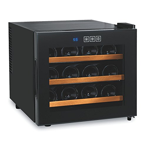 Wine Enthusiast 272 03 12W Silent 12 Bottle Touchscreen Wine Cooler with Wood Shelves, Black