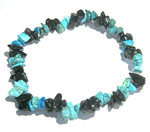 CRYSTALMIRACLE PROTECTIVE BLACK TOURMALINE TURQUOISE STRETCH BRACELET CRYSTAL HEALING PSYCHIC ENERGY MEN WOMEN GIFT FASHION WICCA JEWELRY DEFLECTOR FEAR LUCK HEALTH MEDITATION METAPHYSICAL GEMSTONE by CRYSTALMIRACLE