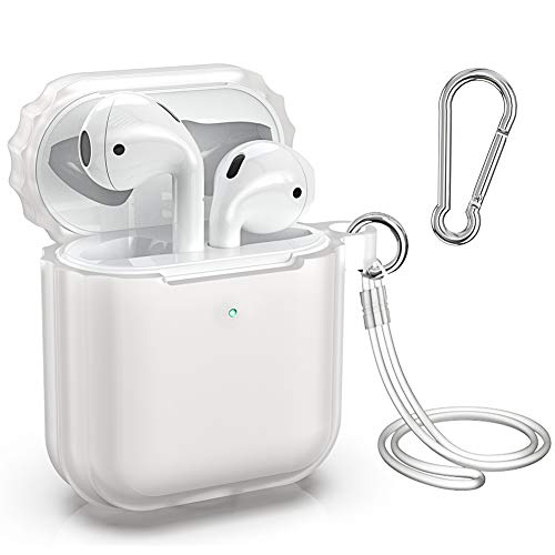 Supmega Compatible with Apple AirPods 2 Case [Front LED Visible] New Air Pods 2nd Generation and 1st Gen Protective Cover with Silicone Straps Keychain Accessories (Translucent)