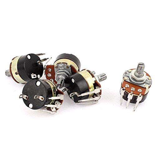 [Uxcell a15061800ux0414 5 Piece B200K 200K Ohm 6 mm Knurled Split Shaft Rotary Switch Carbon Potentiometers] (Switch Potentiometer)