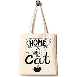 952fd963c Cat Tote Bag, Handmade from 12-ounce Pure Cotton, Large Reusable Canvas Over