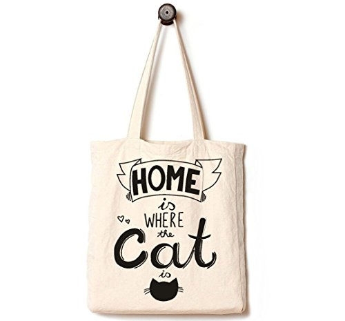 Andes Heavy Duty Canvas Tote Bag with 2 Pockets Inside, Handmade from 12-ounce Pure Cotton, Perfect for Shopping, Laptop, School Books, Pet Home is Where The Cat is