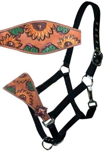 Black Nylon Driving Harness For Single Horse with Diamante Browband in bridle