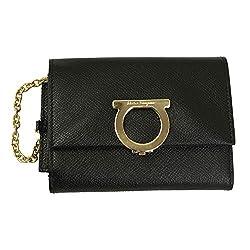 Salvatore Ferragamo Gancini Black Leather Bifold Wallet 22d463 Nero