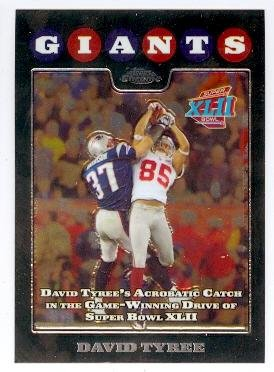 Signed 2008 Topps Card (David Tyree Football Card (New York Giants Super Bowl Champion XLII) 2008 Topps Chrome #152 The Catch)