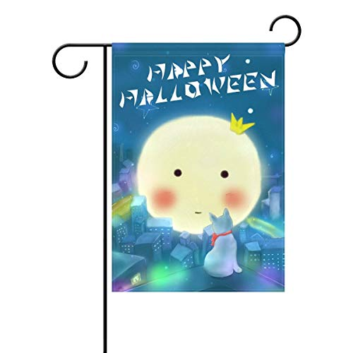 Decorative Cute Happy Halloween Eve Black Cat Garden Yard Flag Banner for Outside House Flower Pot Double Side Print Polyester Blue 28x40IN