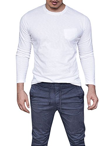 Makkrom Mens Hipster Shirts Long Sleeve Crew Neck Casual Plain T-Shirts with Front Pocket (Pattern Dress Front)