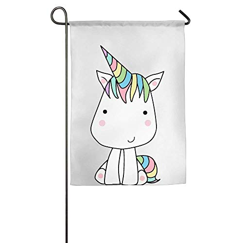 HUVATT Cartoon Little Unicorn Garden Flag Indoor & Outdoor Decorative Flags for Parade Sports Game Family Party Wall Banner 28 x 40 inch ()