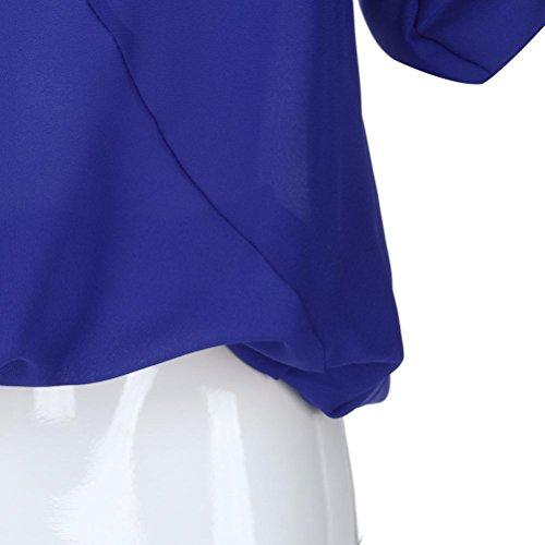 Tonda A Animali 4 Camicia Blau 3 Donna Stampa Manica Giacca Punta Bhydry qwYIpTx