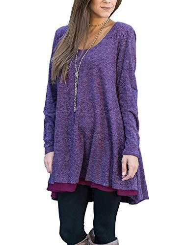 Poetsky Women's Casual Tunic Tops Round Neck Shirts Chiffon Hemline Loose Blouses (L, Purple) (Cheap Long Shirts To Wear With Leggings)