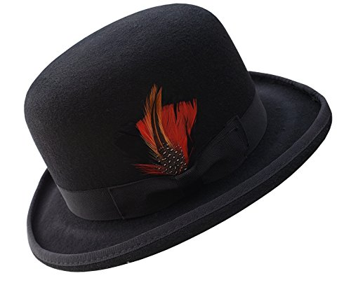 (Different Touch Men's 100% Wool Felt Derby Bowler with Removable Feather Fedora Hats (XL, Black))