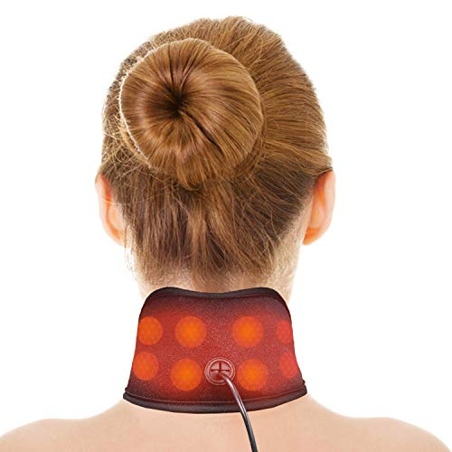 UTK Far Infrared Neck Heating Pad for Pain Relief, Jade Heating Wraps for Knee,Wrist and Cramps - 3 Heat Settings, EMF Free and Bag Included