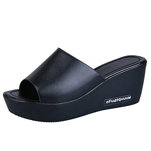 Wear Summer Heels Fish Black High Fashionable Slippers Thin Ladies Is Thick slippers Sole Bottom women Mouth Slope Slip And Leisure Anti vIzWWRPn