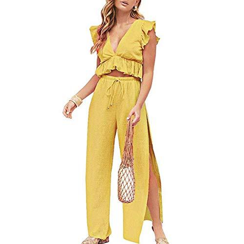 ✔ Hypothesis_X ☎ Women's Casual Ruffle Short Sleeve 2 Piece Sets Jumpsuit Crop Top + Wide Leg Split Pants Outfit - Topaz Purse