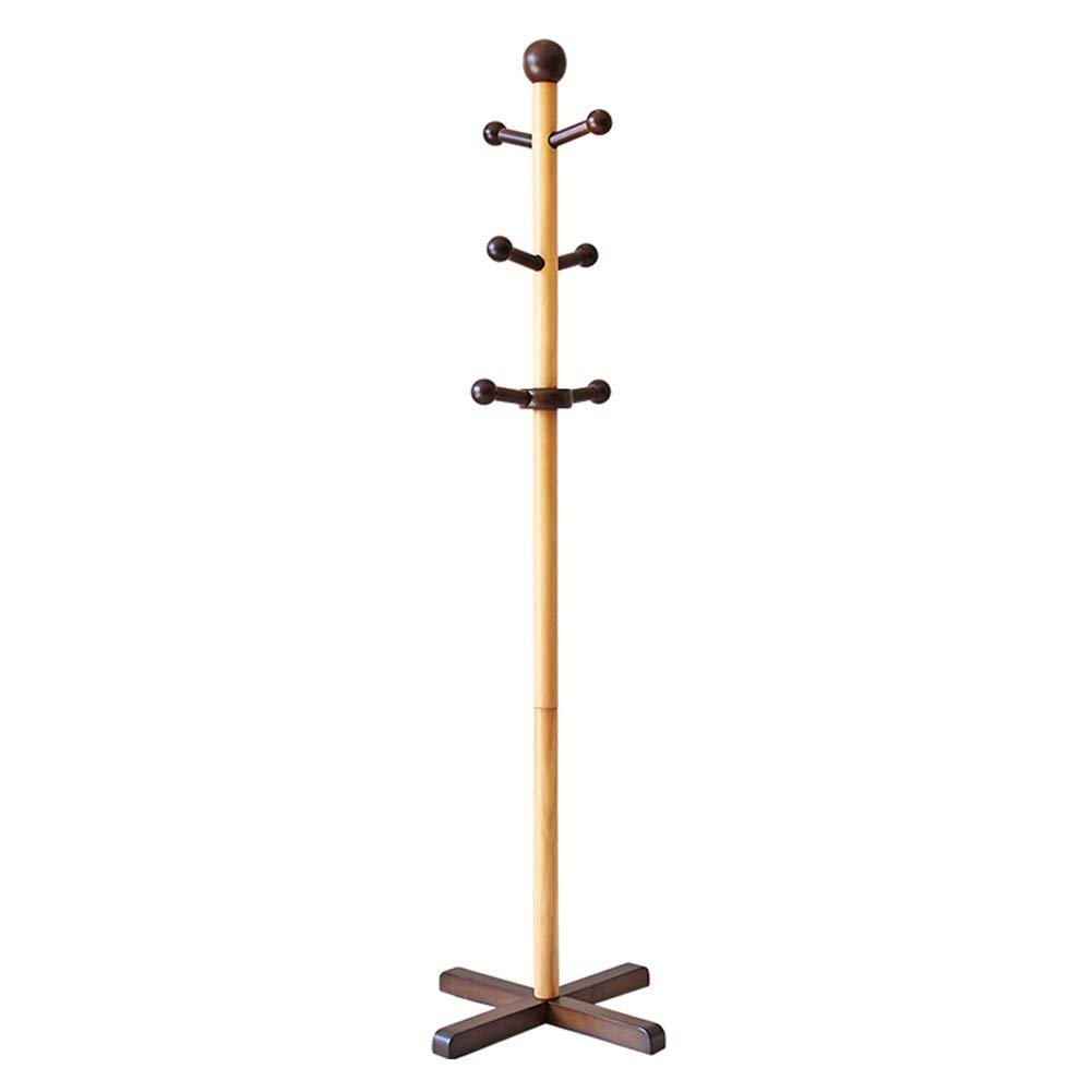 A SHYPwM Solid Wood Coat Rack Simple Entryway Standing Hall Tree Tetrapod Base for Hat Jacket Coat Hanger Rack in Living Room Bedroom (color   A)