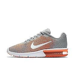 Nike Womens Air Max Sequent 2 Running Shoe, Wolf Grey (10, Wolf Greywhite-bright Mango)