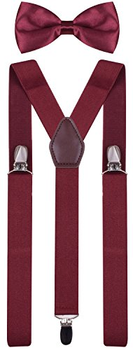 BODY STRENTH Adult's Bow Tie and Suspenders Adjustable Wine 49 Inches]()