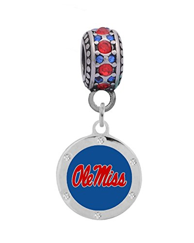 Final Touch Gifts University of Mississippi, Ole Miss 4 Crystal Logo Charm Fits European Style Large Hole Bead Bracelets ()