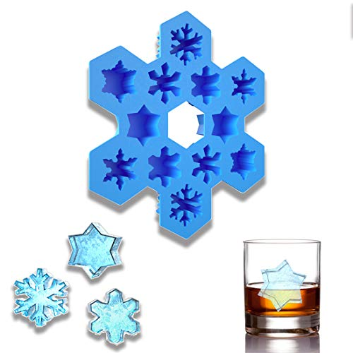 (Silicone Ice Cube Tray Snowflakes - Fun Shapes Maker Container FDA Approved BPA-Free Easy Release Flexible Blue for Drinks Whiskey and Cocktails)