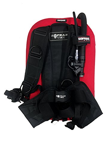 Transpac Harness - Sopras Tek Compact Lite BCD Harness and Wing Style { 30 lb | 13 kg Lift }Travel Dive BC Scuba Diving Red and Black - One Size SM to XL