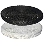 "BudaysMart 9""Plastic Paper Plate Holders Reusable. Black and White (Set of 10)"