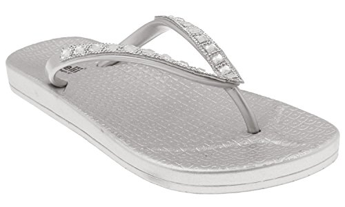 Capelli New York Ladies Fashion Flip Flops with Gem and Rhinestone Trim Silver ()