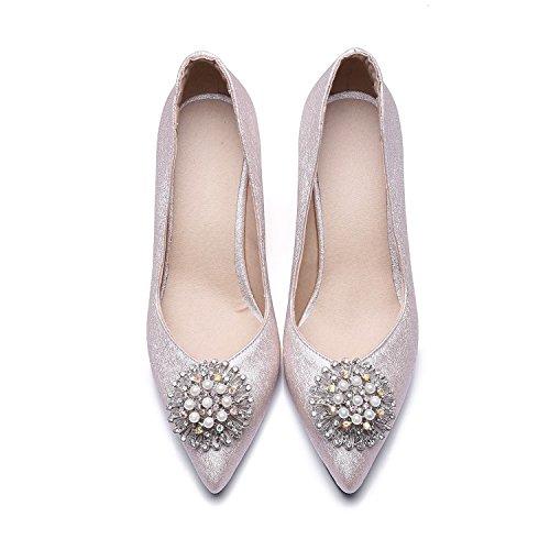 Zapatos zapatos con punta Singles Rosa 42 de metal Water pequeña Femeninos High Heel perforación fresca Zapatos Shallow 1PPqEwv