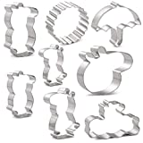 Peppa Pig Cookie Cutters Set for Kids - 8 PCS - Peppa Pig, George Pig, Daddy Pig, Mummy Pig, Pig Head, Sun, Umbrella and Message Board - Stainless Steel
