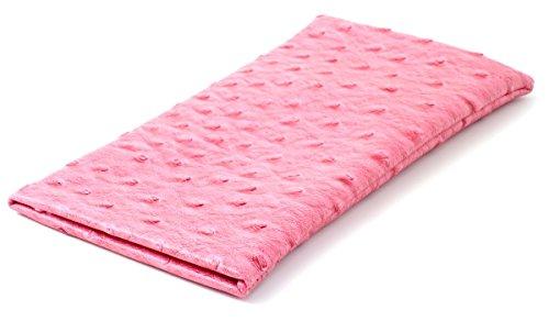 Squeeze Top Soft Eyeglass Case Ostrich Design in Pink