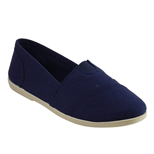 Soda Shoes Womens Obji Rnd Toe Casual Flat With Padded Insole Navy Linen