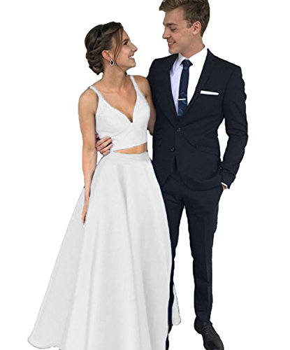 Dymaisei Women's V Neck Two Pieces Satin Prom Dresses 2018 Long Formal Party Dresses US2