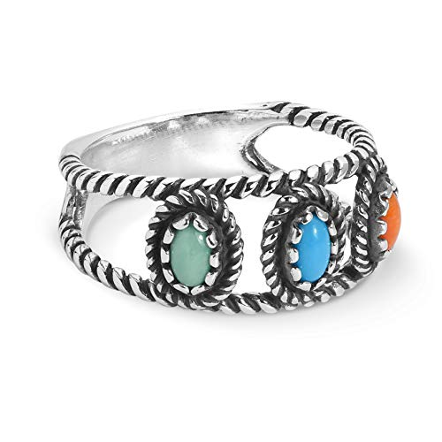 American West Sterling Silver Orange Spiny Oyster, Turquoise and Green Variscite Gemstone 3-Stone Band Ring Size 5 to 10